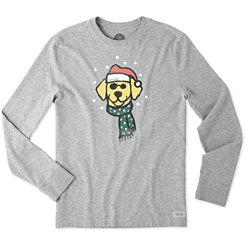 Life is good Men's Crusher Long Sleeve Holiday Dog Hthgry T-Shirt,,