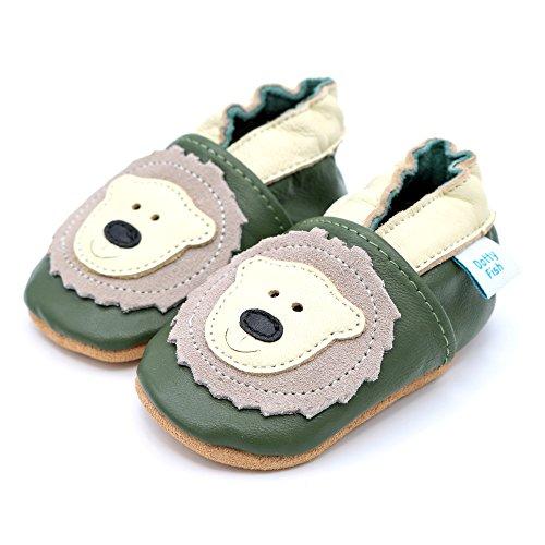 Dotty Fish - Zapatos de cuero suave para bebés - Niños y Niñas - Animales Caqui y crema de oso