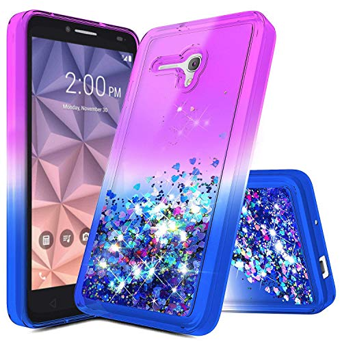 """Jitterbug Smart Case, Jitterbug Liquid Case, NageBee Quicksand Waterfall Liquid Floating Glitter Flowing Sparkle Bling Clear Soft Case for Jitterbug Smart Easy-to-Use 5.5"""" (Purple/Blue)"""