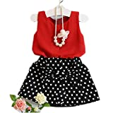 Mosunx 2016 Spring Summer Girls Cute Vest + Skirts Two Pieces Set Clothes Children Skirt Suit (2-3 Years, Red)