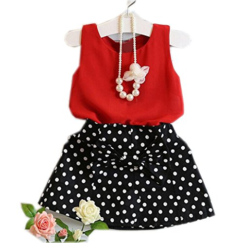 Cute Spring Clothes (Mosunx 2016 Spring Summer Girls Cute Vest + Skirts Two Pieces Set Clothes Children Skirt Suit (5-6 Years,)