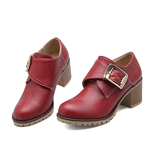 AgooLar Women's Ankle-high Solid Hook-and-Loop Round Closed Toe Kitten-Heels Boots Red V43vC