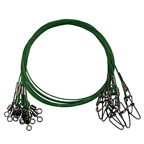 - 20pcs Fishing Wire Leaders Heavy Duty Fishing Stainless Steel Wire Leaders 150LB High Strength Fishing Leaders with Swivels and Snaps Black/Red/Green (Green Leader)