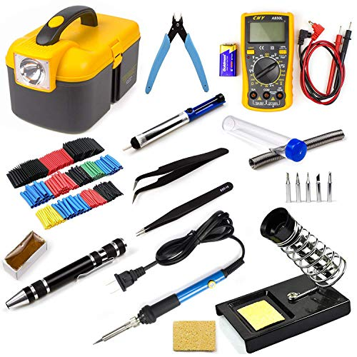 Ziss Soldering Iron Tool Kit Electronics Adjustable Temperature Welding Tool With Digital Multimeter 5pcs Soldering Tips and 328pcs Heat Shrinkable Tube