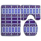BEYOUR Non-Slip Bath Mat Rug Set, Cobalt Blue Porcelain Mosaic Tile Design Prints 3 Piece Room Rugs Set Living Room Anti-Skid Pads Bath Mat + Contour + Toilet Lid Cover