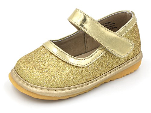 Squeaky Shoes |Gold Sparkle Mary Jane Toddler Girl Shoes | Removable Squeakers 5 from Little Mae's Boutique