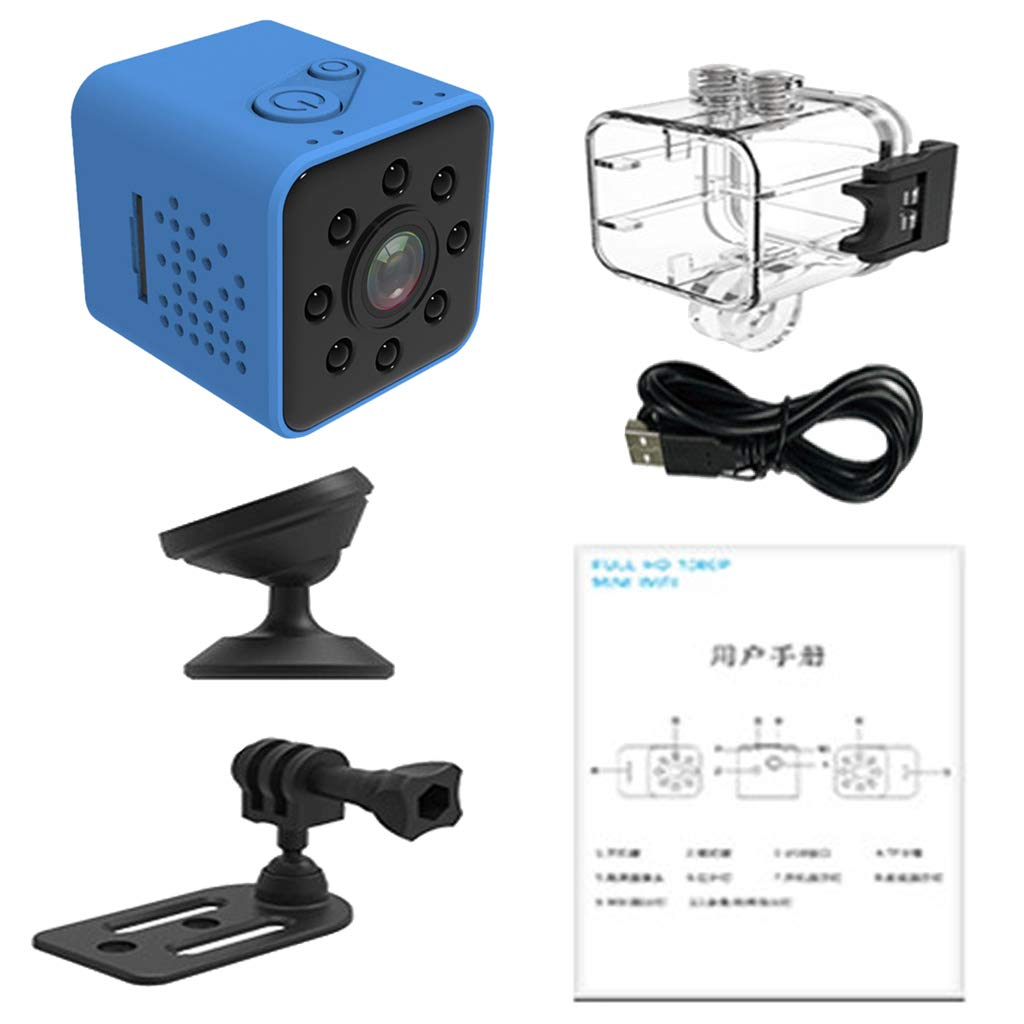 Flameer 30mm 1.2'' Micro Camera,SQ23 HD Camcorder Night Vision 1080P Sport DV Camera Infrared Car DVR Motion Detection - Blue