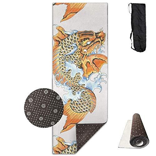 AUUOCC Koi Dragon Tattoo Deluxe Yoga Mat Aerobic Exercise Pilates 180cm x 61cm Soft Material ()