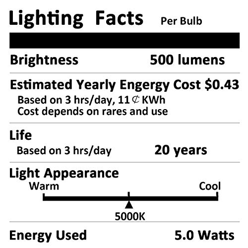 Aukora 5W Led Refrigerator Light Bulb, Equivalent 40w 120v Appliance Light Bulb Waterproof Daylight White 5000K 500LM A15 Fridge Light Bulb Not-Dim E26 Medium Base Energy Saving Freezer Bulb(4 Pack)