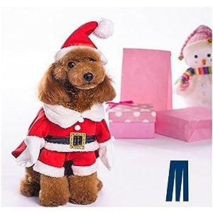 Mikayoo Christmas Costumes for Small Dog Medium Dog Or Cat, Santa Suit with Hat,Santa Dress with Hat, Santa Claus Costumes Christmas Holiday, Xmas coat with Santa Hat, Xmas dress with Santa Hat(L)