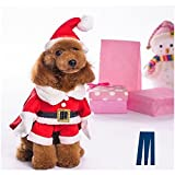 Mikayoo Christmas Costumes for Small Dog Medium Dog Or Cat, Santa Suit with Hat,Santa Dress with Hat, Santa Claus Costumes Christmas Holiday, Xmas coat with Santa Hat, Xmas dress with Santa Hat(XL)
