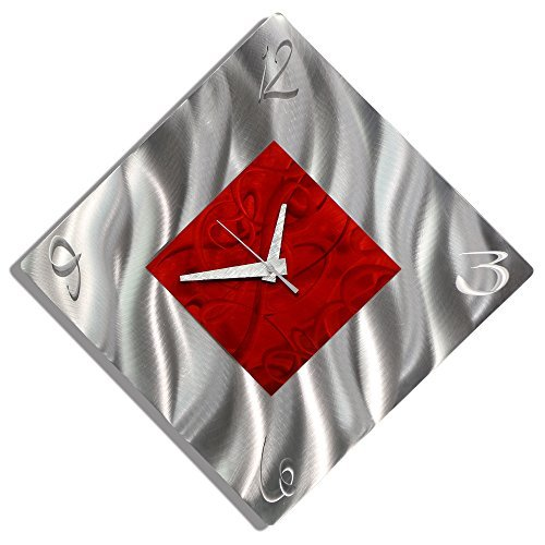 Red Metal Decorative Wall Clock, Abstract Modern Clock for Living Room or Kitchen, Jon Allen Metal Art, Fresh Start Clock (Kitchen Wall Red Clocks)