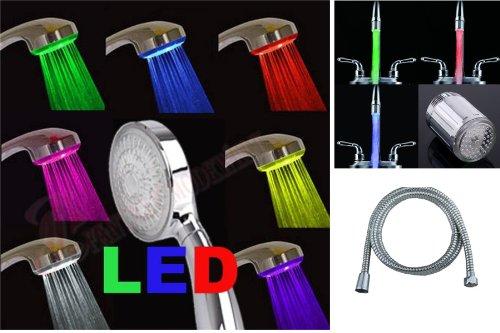 Mega Set LED-Duschkopf Multi colour LED-Regenbogen +LED Wasserhahnaufsatz mit 3 Farben + Brauseschlauch