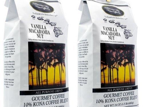 Kona Vanilla Macadamia Nut Coffee 3 pummel (two 24 oz bags)