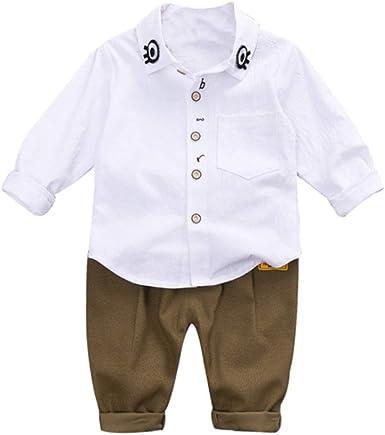 Handfly Otoño bebé Ropa de niño Lindo de Dibujos Animados Ojo Imprimir Camisa de Manga Larga Blusa Pantalones niños niños Trajes Conjunto de Ropa para 0-5 años: Amazon.es: Ropa y accesorios