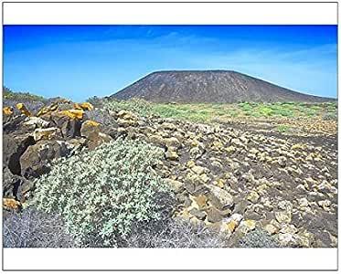 Diseño de paisaje volcánico, Isla de los Lobos, Fuerteventura, Islas Canarias, de la bandera de España: Amazon.es: Hogar