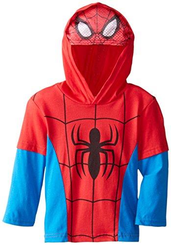 Marvel Little Boys' Toddler Spiderman Hooded Masked Top, Red, 2T (Toddler Spiderman Mask)