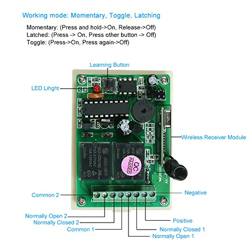 KKmoon 433Mhz DC 12V 2CH Universal 10A Relay Wireless Remote Control Switch Receiver Module and 5PCS 3 Key RF 433 Mhz Transmitter Remote Controls 1527 Chip Smart Home Automation by KKmoon (Image #2)