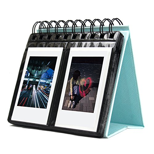 Amazing Works [Fujifilm Instax Mini Photo Album] 68 Pockets Desk Calendar Album for Fuji Instant Mini 70 7s 8 25 50s 90, Polaroid Z2300, Polaroid PIC-300P Film (Blue)