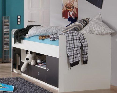 Lifestyle4living Einzelbett in Alpinweiß mit Absetzungen in Graphit, Liegefläche ca. 90 x 200 cm, inkl. 2 Türen und 2 Schubkästen, Maße B H T ca. 95 89 204 cm