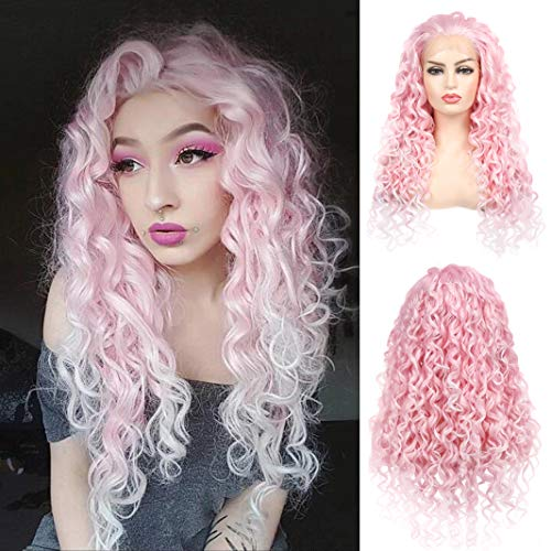 Baruisi Pink Curly Lace Front Wigs Synthetic Heat Resistant Long Cosplay Bounce Replacement Hair Wig for Women