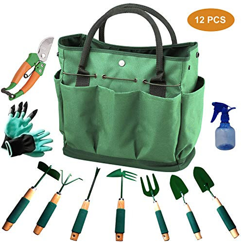 - Urban Deco Gardening Tools 12 Pieces Garden Tools Set Durable Hand Tools Kit with 600D Canvas Tote Heavy Duty Gardening Work Set with Garden Gloves-Perfect Gardening Tools for Women Men