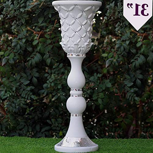 (Mikash 31 Tall White Decorative Wedding Vases with Crystal Beads Decorations Sale | Model WDDNGDCRTN - 12087 | 4)