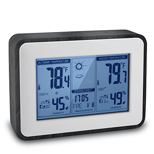 Indoor Outdoor Thermometer Digital Hygrometer Large Display Humidity Temperature Monitor Multifunctional Weather Station with Alarm Clock, 2018 Upgraded Design