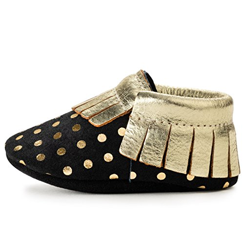 BirdRock Baby Moccasins - 30+ Styles for Boys & Girls! Every Pair Feeds a Child (US 9.5, Black and Gold)