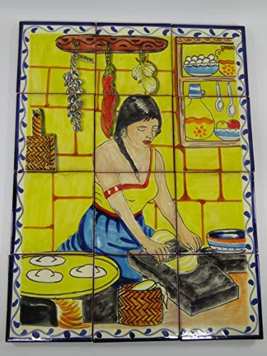 TALAVERA MOSAIC MURAL, mexican handpainted tile, backsplash, small town scene (Mural Scene Mosaic Art Tile)