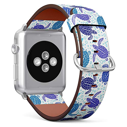 Compatible with Small Apple Watch 38mm & 40mm Leather Watch Wrist Band Strap Bracelet with Stainless Steel Clasp and Adapters (Turtles Silhouette)
