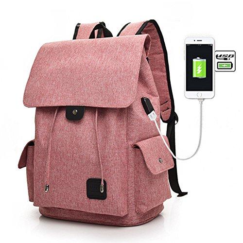 Fastar Mochila de Lona Mochila Portátil con Puerto de Carga Externa USB para Hombre y Mujer Rosa