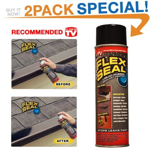 Flex Seal 10-Ounce As Seen on TV Liquid Rubber Sealant in a Can, Black (2 Pack Special)