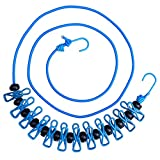 Hawatour Windproof Portable Travel Elastic Retractable Clothesline Adjustable Clothesline with 12 Pcs Clip for Outdoor and Indoor Use (Blue)