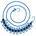Hawatour Portable Travel Elastic Clothesline Adjustable Clothesline with 12pcs Clothespins for Outdoor and Indoor Use (Blue)