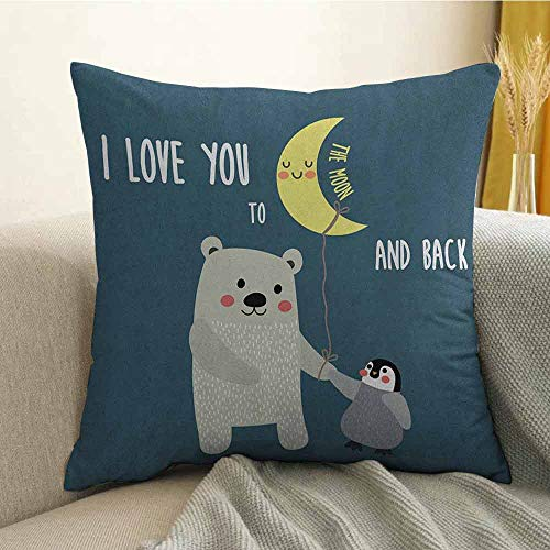I Love You Bedding Soft Pillowcase Teddy Bear and Penguin Friends Arctic Valentines Under Moon Cartoon Hypoallergenic Pillowcase W20 x L20 Inch Slate Blue Grey Yellow ()