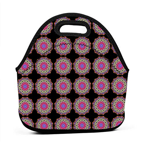 (Basketweave Mandala_2292 Lunch Bag for Women,Men and Kids - Reusable Soft Lunch Tote for Work and School)