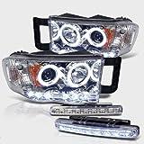 2002-2005 DODGE RAM 1500 DUAL HALO PROJECTOR HEADLIGHTS + 8 LED FOG BUMPER LAMPS