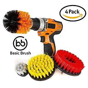 BasicBrush Drill Brush Attachment Kit - Stiff Medium Soft Nylon Bristle - Turbo Spin Power Scrubber - Pool Tile Floor Brick Marble Ceramic Patio Furniture Car Wheel Bathroom Toilet Cleaner - Set of 4