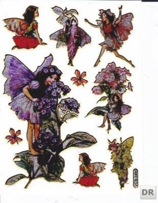 Fairies Glitter Sticker Sheets - Elfe Fairy Cute Sticker Decal Metallic Glitter 1 sheet Dimensions: 13.5 cm x 10 cm