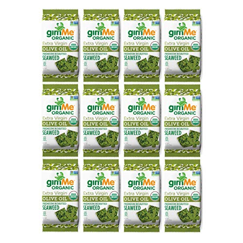 (gimMe Snacks - Organic Roasted Seaweed - Extra Virgin Olive Oil - (.35oz) - (Pack of 12) - non GMO, Gluten Free, Keto, Paleo - Healthy on-the-go snack for kids & adults)