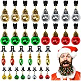 Elcoho 30 Pieces Christmas Beard Ornaments with Storage Bag Classical Color Christmas Facial Hair Baubles Bells for Men Easy Attach Mini Mustache Ornaments (30)