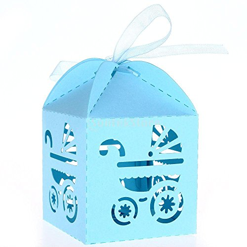 50pcs Blue Candy Ribbon Boxes Laser Cut Baby Shower Carriage Shower Favor Bomboniere Gifts