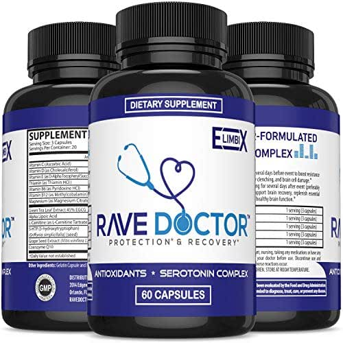 Rave & Festival Hangover Prevention | Rave Supplement | Rave Pills | Antioxidant Supplement | 5-HTP | Serotonin Boost | Mood Boost | Hangover Cure | Rave Fans Party Smart with Recovery Supplements
