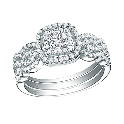 SHELOVES Vintage Infinity Wedding Band Engagement Ring Set for Women Sterling Silver Round Cz 3 Pcs Size ()
