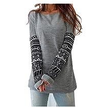 Gotd Women Splice Long Sleeve Round Neck Blouse Tops T Shirt (L, Gray)