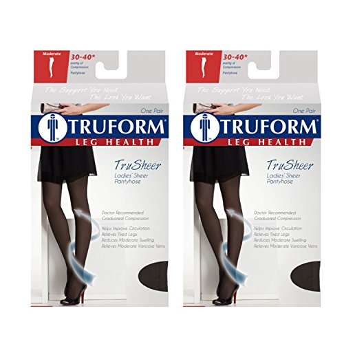 Truform Compression 30-40 Mmhg Sheer Pantyhose Black, Medium, 2 Count by Truform