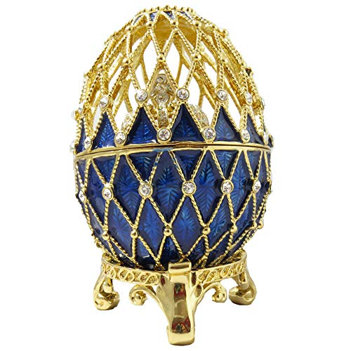 Faberge Style Royal Blue Egg with Crystal Crown Enamel Collectible Antique Gift Vintage Trinket Figurine Jewelry Box