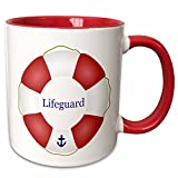 3dRose InspirationzStore Nautical Designs - Lifeguard lifesaver Swimming pool life saver preserver - sea beach life guard red and white float - 11oz Two-Tone Red Mug (mug_112970_5)