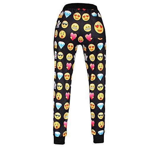 TOSHOO Unisex 3D Emoji Sweatpants Joggers Sportswear Pants (L, Black)